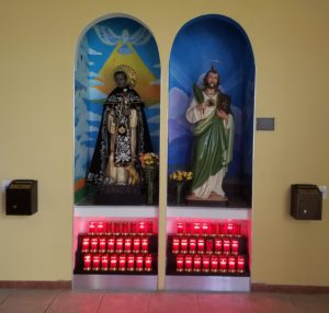 This is a customized electric candles-holder at St. Dominic Catholic Church in Miami (FL)